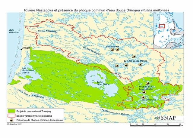 Carte décrivant l'emplacement des populations de phoque d'eau douce et la proposition de tracé du parc national Tursujuq par la SNAP en décembre 2009.