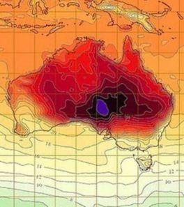 Carte des température sévissant en Australie depuis 2 semaines (Crédit: Istockphotos)