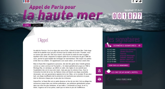 Screenshot appel de Paris pour la Haute Mer
