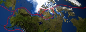 Le passage du Nord-Ouest incluant les différents raccourcis possibles.